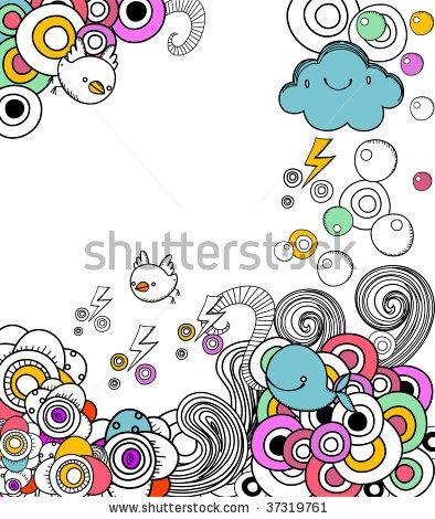 birds, clouds, and circles doodle frame
