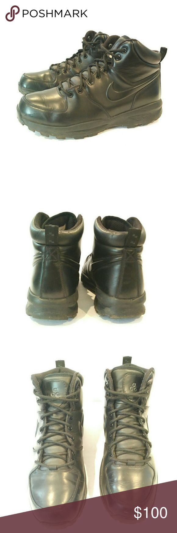 Nike Acg mens waterproof work boots 10.5 Nike acg mens 10.5 Mens black leather boots Rubber soles excellent  Missing insoles and a few marks in leather Not noticeable when wearing Make an offer Nike ACG Shoes Rain & Snow Boots