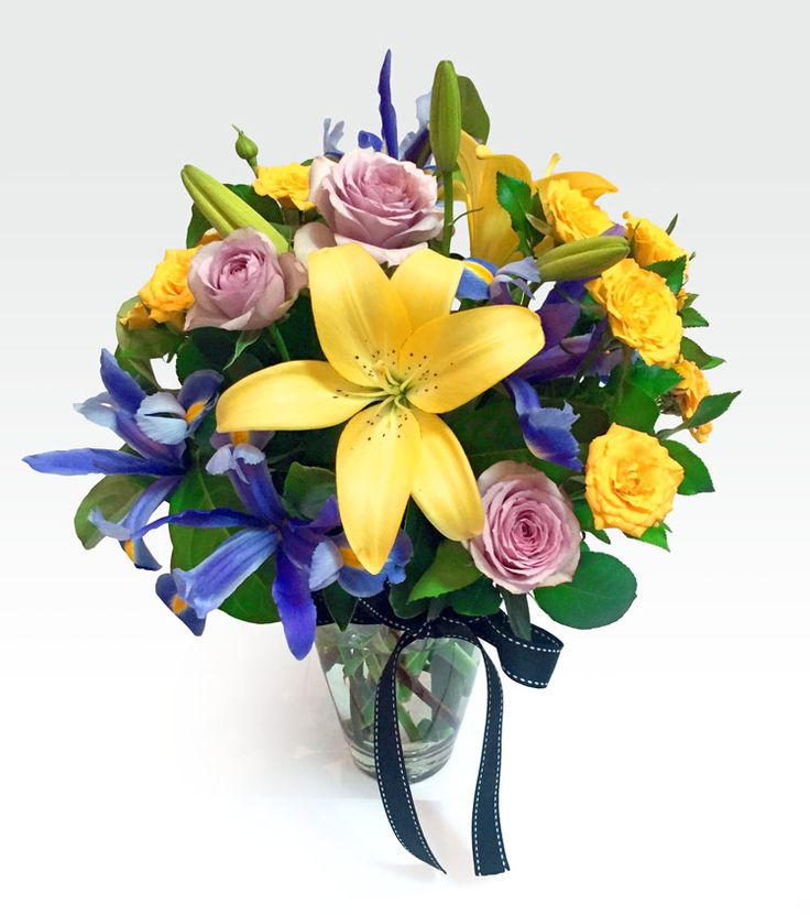 #Violetta #Vase - #Floret_Boutique - Looking for a beautiful #gift for someone special? Buy our Violetta Vase which is a combination of seasonal blooms in yellow, gold and mauve with complimenting foliage.