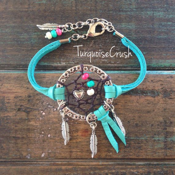 Dreamcatcher Boho Jewelry Bohemian Turquoise. Dream Catcher Layering Bracelet Bohemian Gypsy Boho CHIC