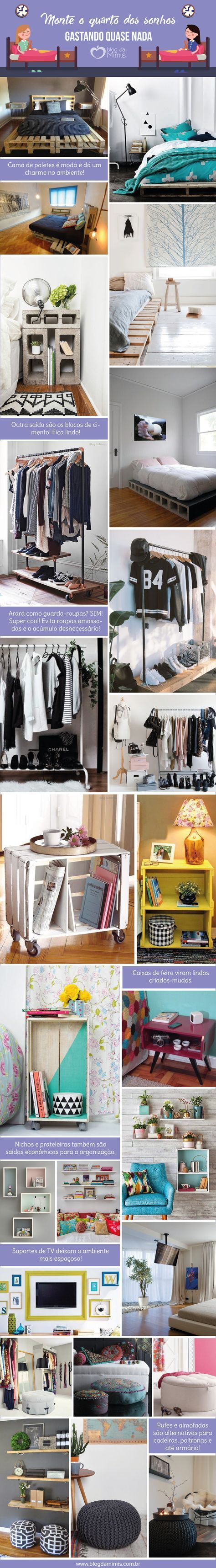 Monte o quarto dos sonhos gastando quase nada - Blog da Mimis #bedroon #quarto…