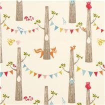 cream birch tree trunk organic fabric with owl squirrel - Animal Fabric - Fabric - kawaii shop modeS4u