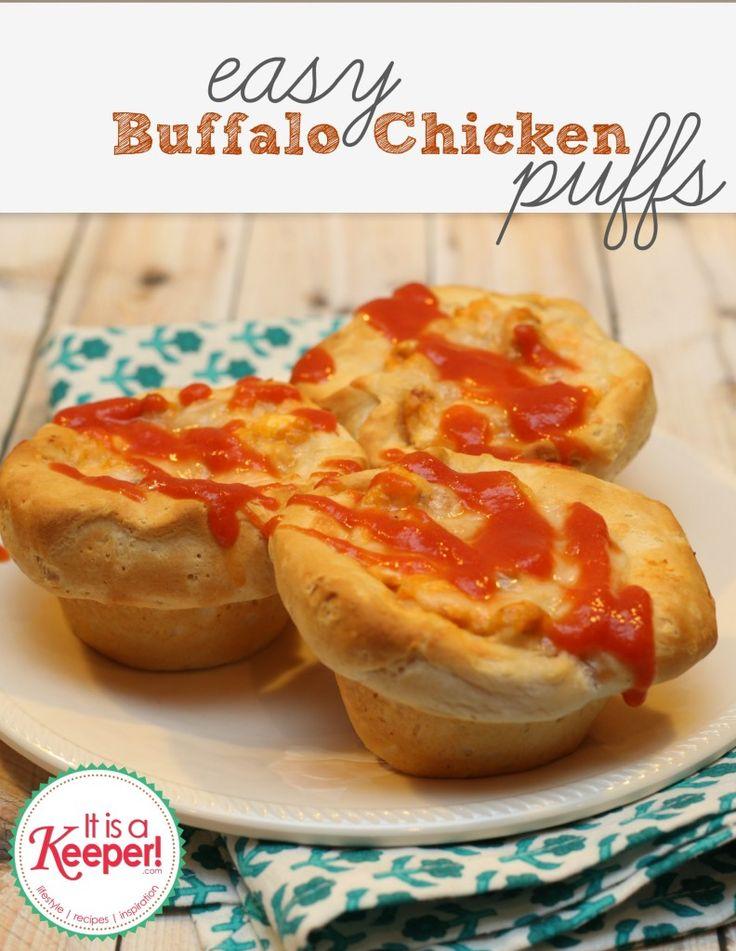 Easy Dinner Ideas Buffalo Chicken Puffs by It's a Keeper