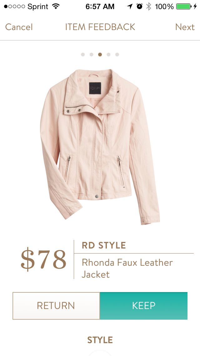RD Style Rhonda Faux Leather Jacket. Everyone needs a leather jacket. Why not a blush one? This would add a little edge to my classic wardrobe.