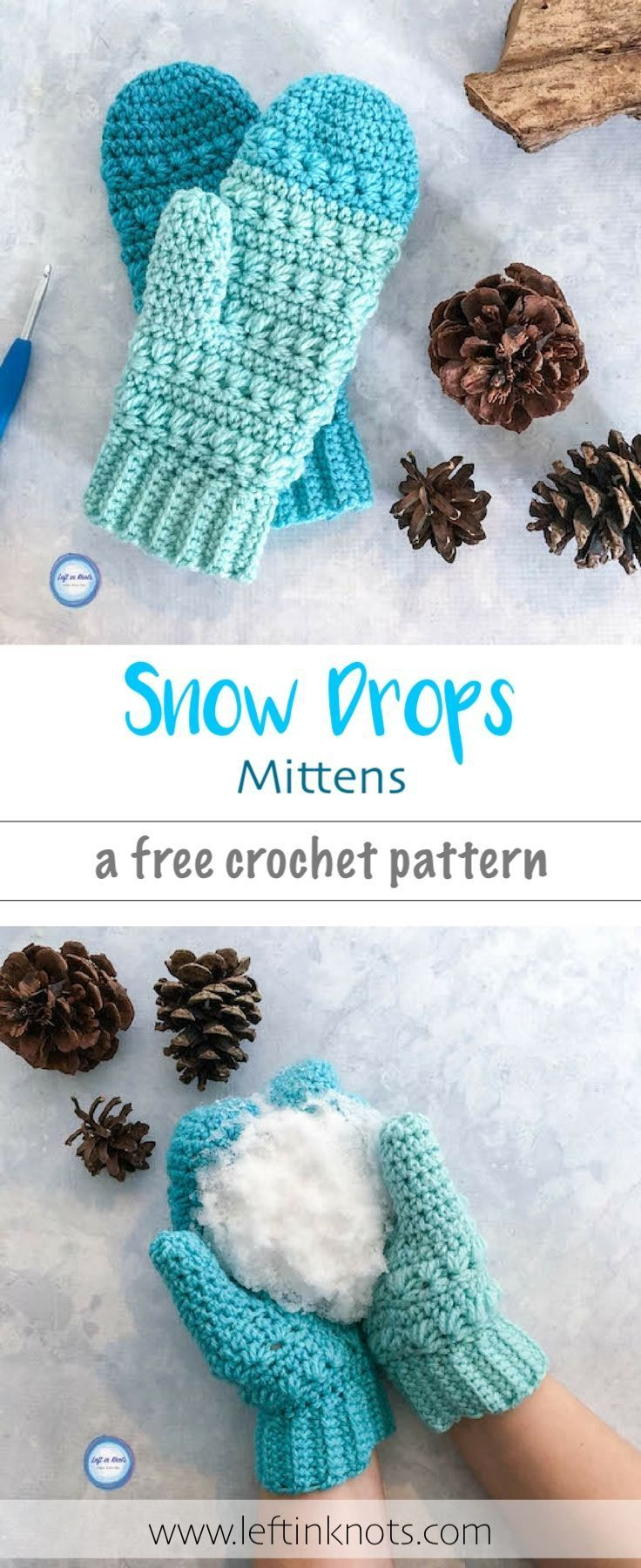 The Snow Drops Mittens pattern is a free, modern crochet pattern with  a stunnin…