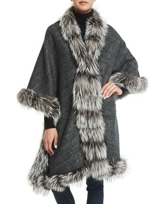 Cashmere+Reversible+Fox+Fur-Trim+Cape,+Gray/Brown+by+Belle+Fare+at+Neiman+Marcus.