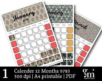 Printable Calendar, Desk Calendar, Calendar Template, Monthly Calendar, 12 Month Calendar, Calendar Download, Calendar PDF, Digital Calendar