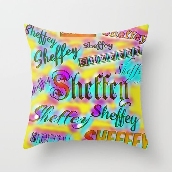 Sheffey Fonts - Pink and Yellow 9642 Throw Pillow Sold with or without faux down pillow insert.