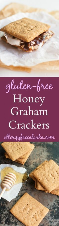"These taste like the REAL deal! You'd never know they were <a class=""pintag"" href=""/explore/glutenfree/"" title=""#glutenfree explore Pinterest"">#glutenfree</a>. Use maple syrup in place of the honey to make them vegan. Gluten-Free Honey Graham Crackers Recipe from Allergy Free Alaska"