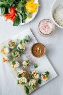 Mango Spring Rolls w/ Pickled Shallot + Spicy Almond Butter Sauce