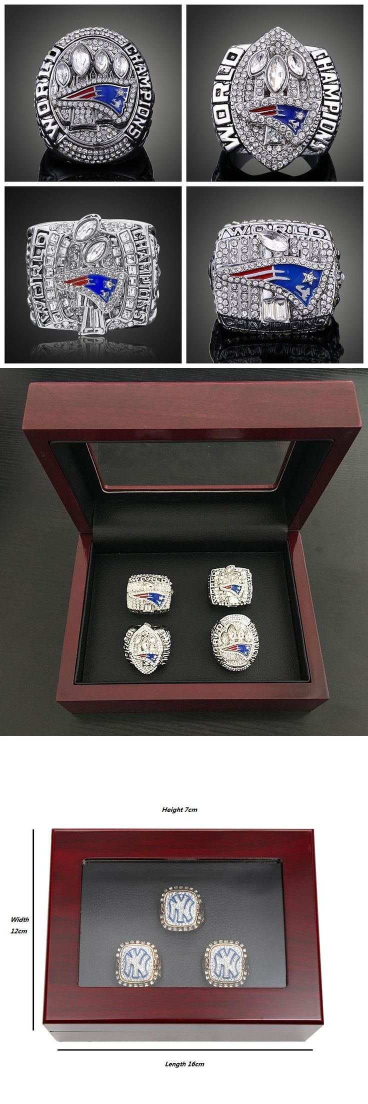 New England Patriots Super Bowl 2001 2003 2004 2014 Championship Rings Sets Replica Alloy Rings With Wooden Box For Fans Gift