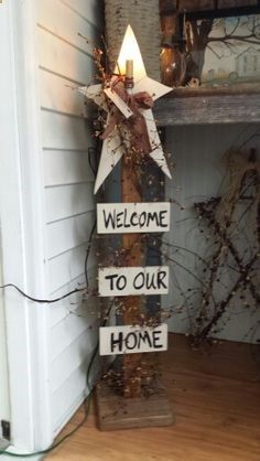 Primitive Picket Fence Crafts | Star, berries and spindle candle. Great in the foyer or outside on the ...