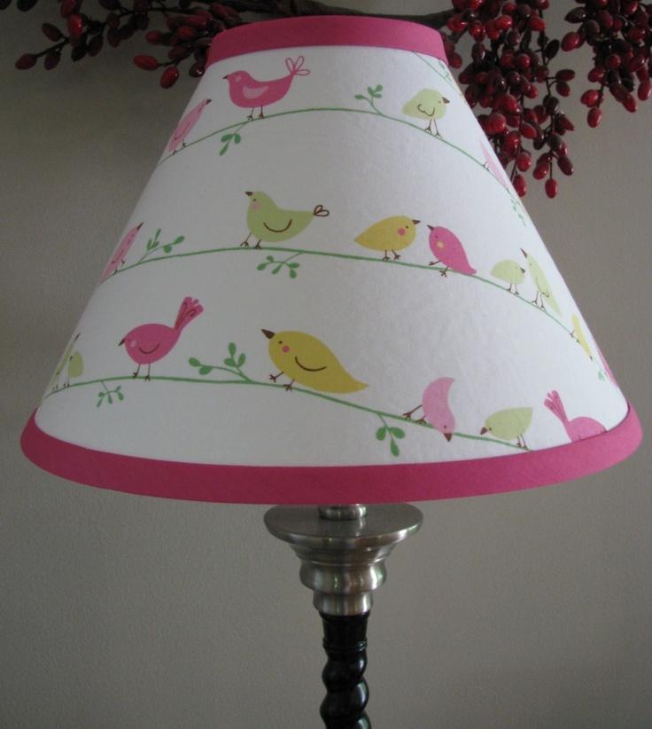 Bird Lamp Shades: Pink And Green Bird Nursery