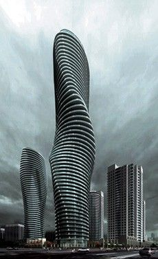 Nicknamed 'Marilyn Monroe's Towers' by Ma Yansong. Mississauga/Ontario/Canada (near Toronto) Finished installation