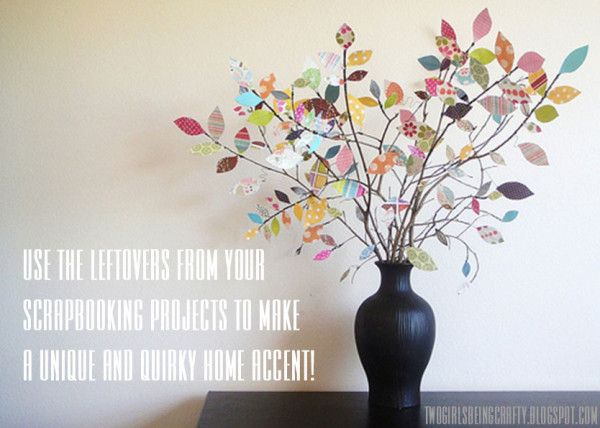 So clever!  Love it!: Idea, Scrapbooks, Paper Scrap, Trees Branches, Paper Flowers, Scrapbook Paper, Paper Leaves, Paper Trees, Trees Centerpieces