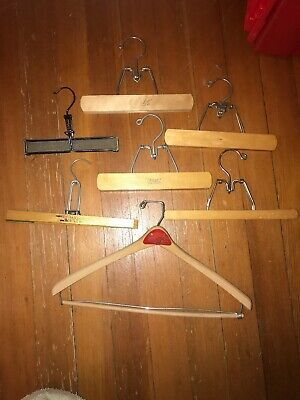 3Pcs 30×16cm Natural Solid Wood Pants Hangers Skirt Hanger Clips Slack Hanger