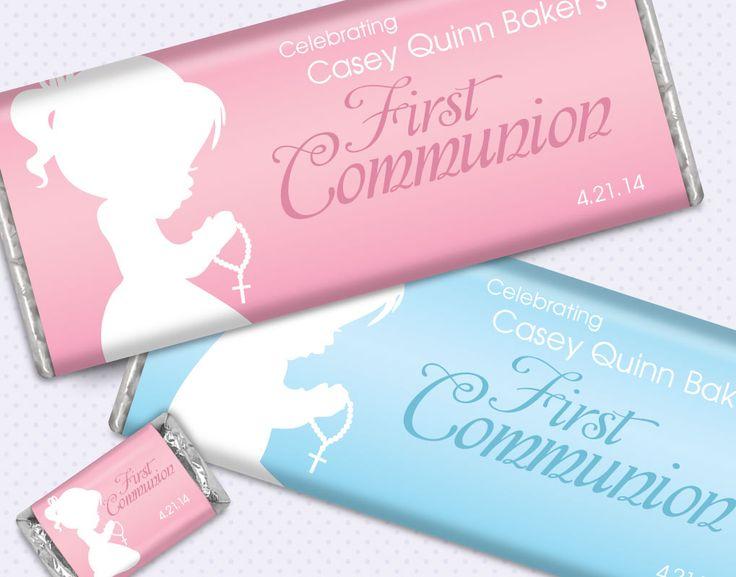 Precious Prayers First Communion Party Favors: Personalized HERSHEY'S candy bars