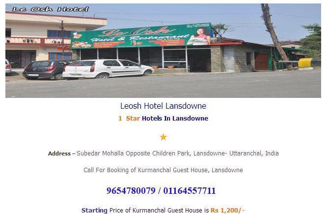 Leosh Hotel Lansdowne  at best price  at http://www.hotelsinlansdowne.co.in/lansdowne-hotels