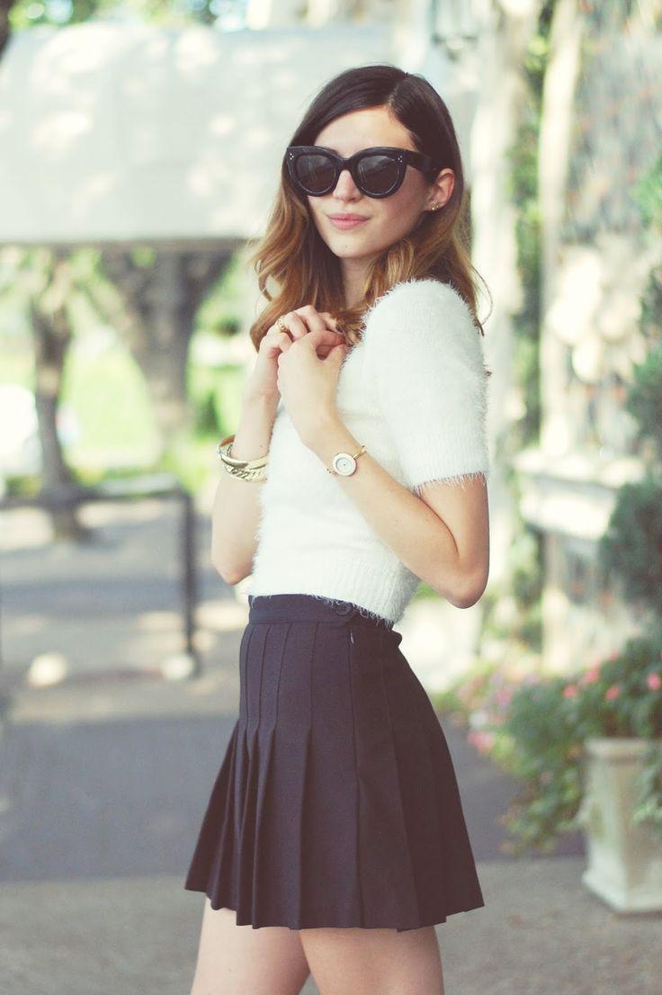 Emilee Anne wearing American Apparel Cropped Sweater // American Apparel Pleated Skirt // Stella McCartney Espadrilles // Celine Sunglasses