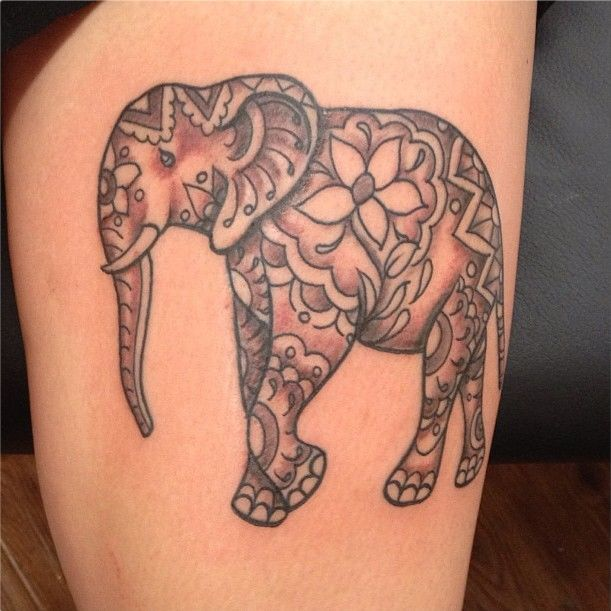 Henna Elephant Tattoo by Hannah Skalsky, All Saints Tattoo, Austin Texas