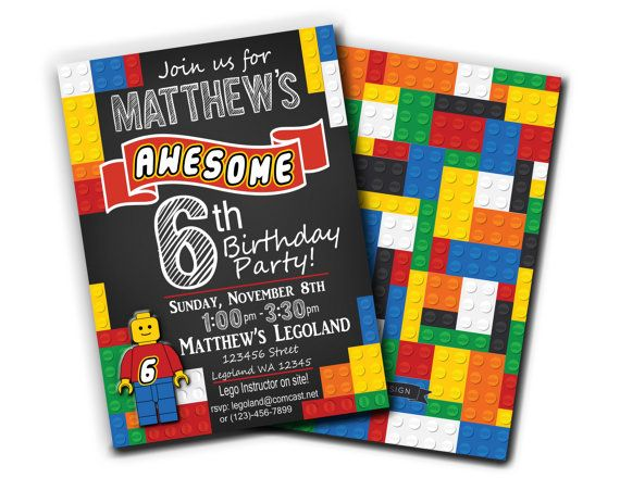 Lego Birthday Invitation-Printable by alovelydesignshop on Etsy