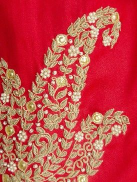 Red Cashmere Wool Zardozi and Pearls Hand Embellished Stole write to us at hello@richadesigns.in