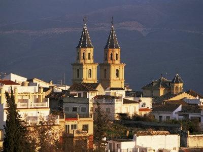 Rooftops and Church at Sunset, Orgiva, Alpujarras, Granada, Andalucia, Spain Lámina fotográfica