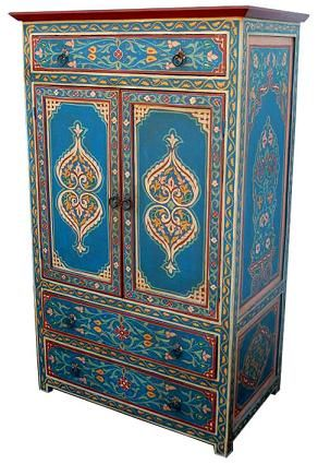 "Armoire Alhambra. Hand-painted in Morocco. Available in Blue, Yellow/Green, Charcoal, or Dark Red. 59"" x 36"" x 19"". $1,600.00."