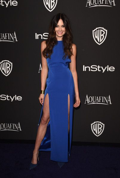 Mallory Jansen Evening Dress - Mallory Jansen flaunted plenty of leg in a double-slit cobalt gown during the InStyle and Warner Bros. Golden Globes party.