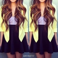hair + blazer + skirt = <3