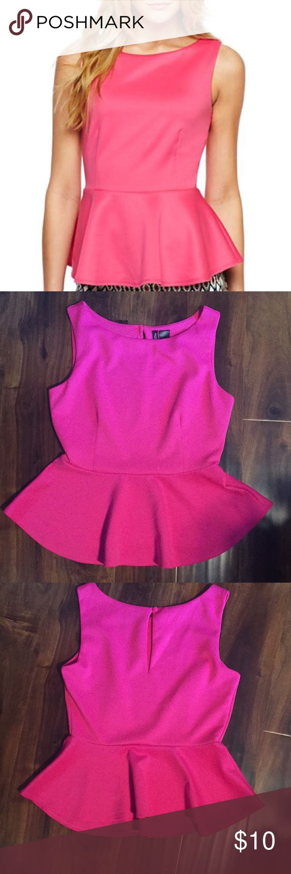 Hot pink peplum top Hot pink peplum top with keyhole back - small white mark as pictured Bisou Bisou Tops Blouses