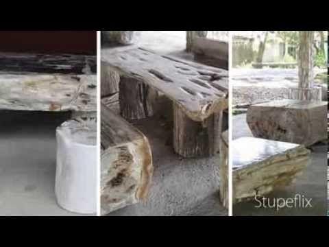 Petrified Wood Furniture, Fossil Wood Tables, Versteinertes Holz, Möbel,.