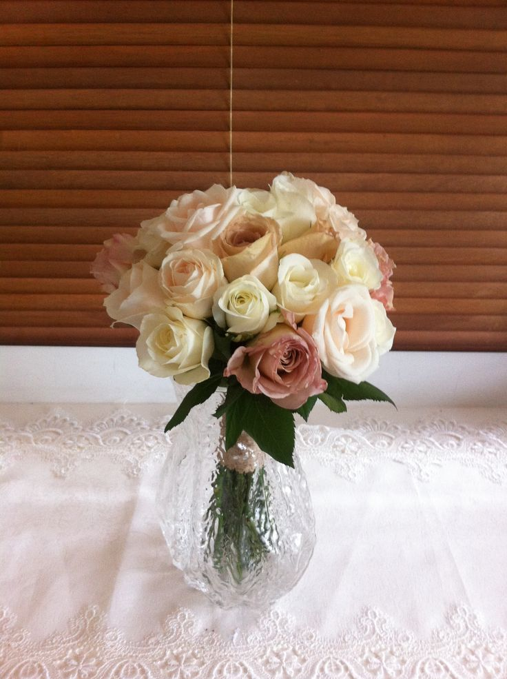 Bridesmaid bouquet, a mix of whites, champagne and mocha - Knight Blooms Floral Designs