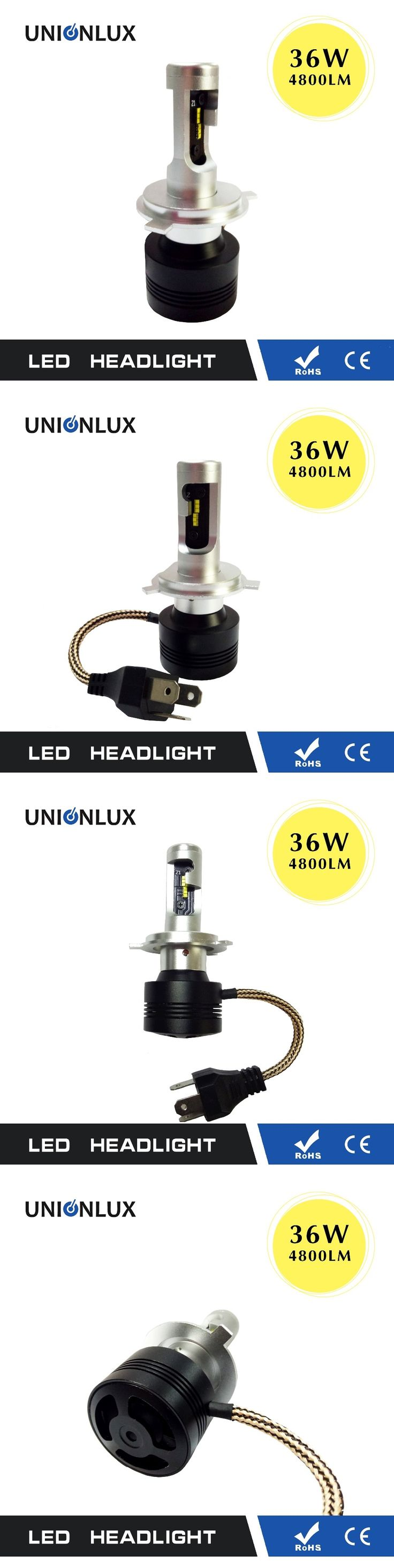 Unionlux 2017 Newest A7 All in One LED Headlight 36W Super Bright 4800 Lumens H4 Dual Beam High/Low Automobile Light Bulb