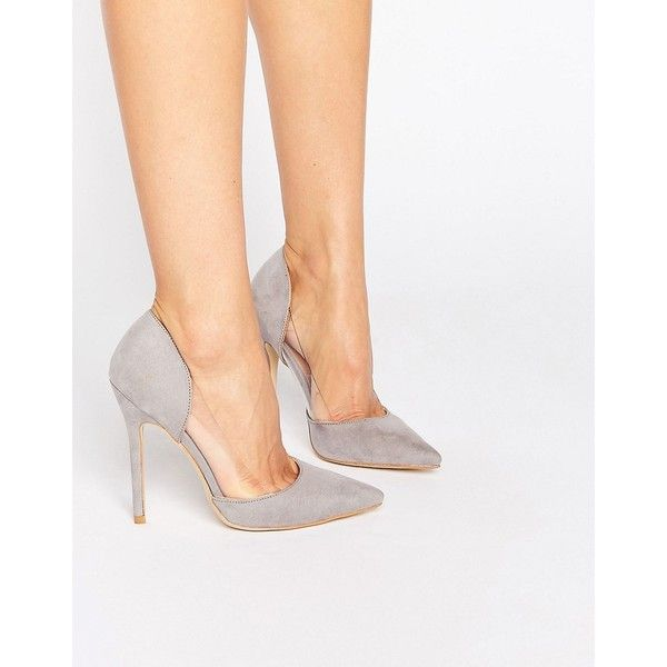 Public Desire Keeley Clear Detail Grey Court Shoes (€41) ❤ liked on Polyvore featuring shoes, pumps, grey, slip on shoes, pointed toe pumps, high heel pumps, clear pumps and high heel shoes