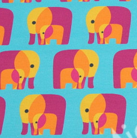 Pink  Turquoise Elephants. Me and You. by CaboodleTextiles on Etsy