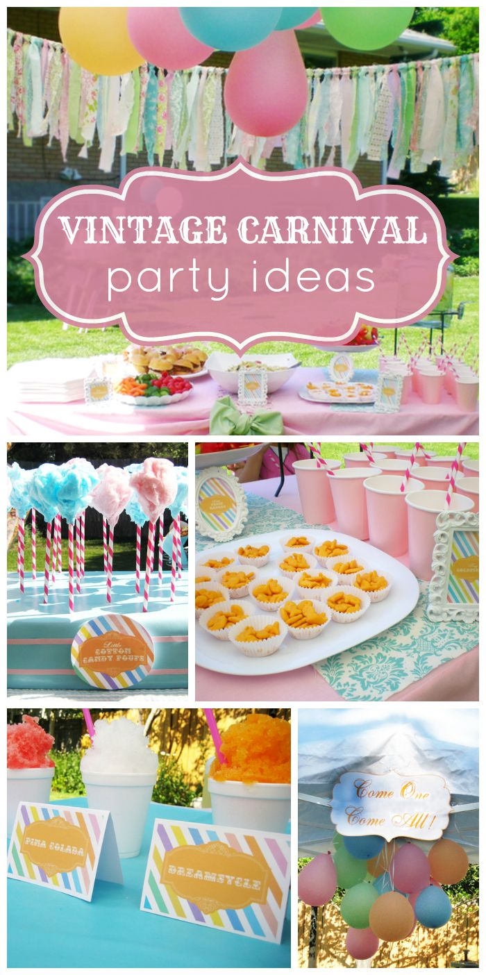 What a lovely pastel vintage carnival baby shower celebrating a preemie!  See more party ideas at CatchMyParty.com!