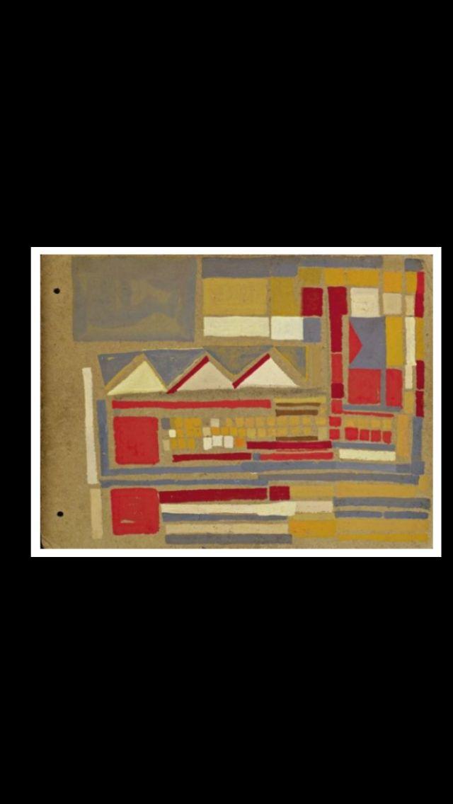 "Maria Helena Vieira da Silva - "" Ailleurs "", c. 1947/1948 - Gouache on panel of cardboard  - 24 x 32 cm"