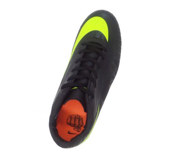 Chuteira Nike Hypervenom Phelon 2 Neymar JR Preto e Verde Limão - Cabedal confeccionado em material sintético. Conta com fechamento em cadarço. Traz o logotipo da marca nas laterais e no solado. Forro em material sintético com reforço alcocho...