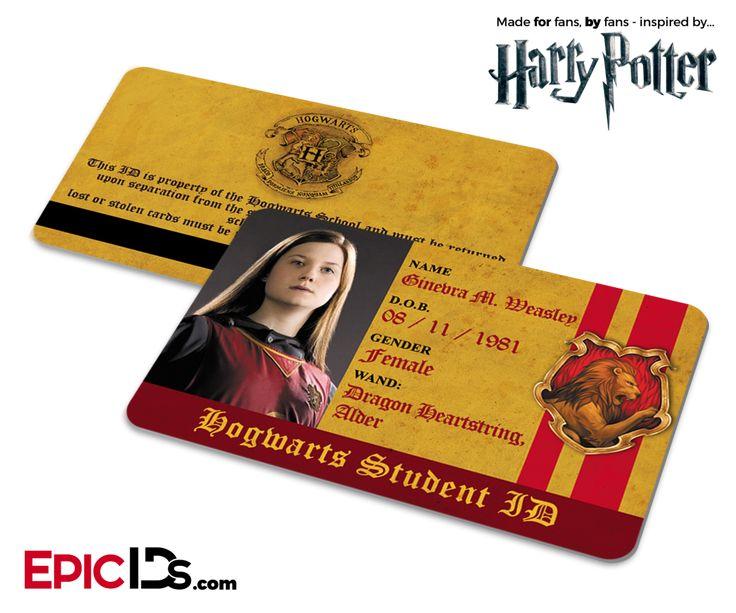 Harry Potter Inspired Hogwarts Student ID (Gryffindor) - Ginevra M. Weasley