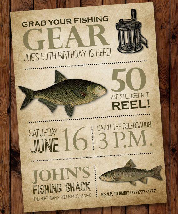 Fishing Birthday Invitation, Male Birthday Invitation, Fishing Theme Birthday Invitation, Fishing Birthday Invite for Man, Fishing Invite