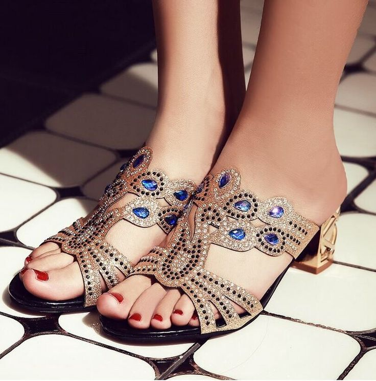 Sandals Heels Women's Summer Fashion Explosions Peacock Rhinestone Rough Heels It read one left but comes in other colors....