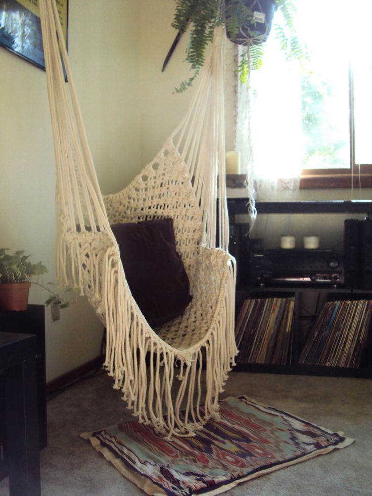 Hippy hammock macrame chair via etsy i for Bedroom hammock chair