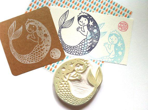 princess mermaid stamp. mermaid rubber stamp. by talktothesun, $32.00