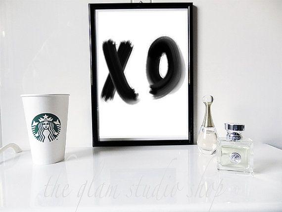 Stampa Motivazionale XO Baci e Abbracci Frase d'ispirazione Stampa bianco e nero Idea regalo Decoro Casa Scritta a mano Stampa tipografica