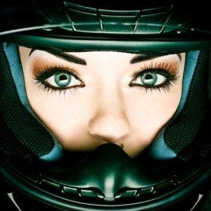 womens eyes in motorcycle helmet