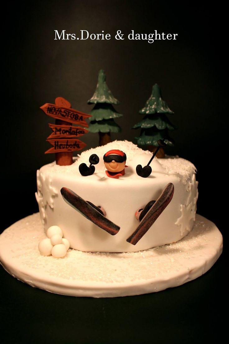 Skiing Cake Ski Fondant cake Winter cake Facebook Mrs.Dorie & daughter