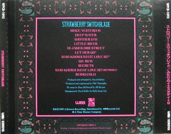 Back of Strawberry Switchblade, CD version