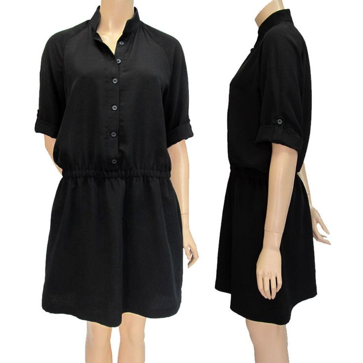 Black Shirt Dress/ Black Spring Dress/ Unique Black Tunic/ New Black Tunic Dress/ Mini Black Dress/New LBD/ Black Blouse Dress by SkitaDesign on Etsy