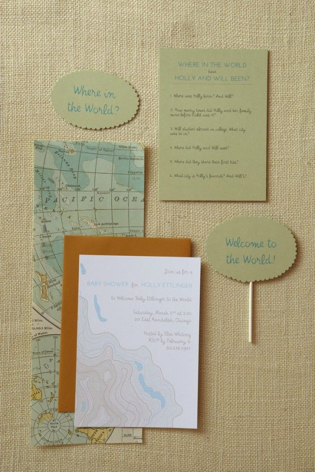 Welcome to the World Baby Shower Invitations; I like the topographic invitations!